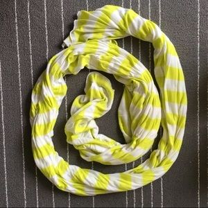 Electric yellow and white striped scarf